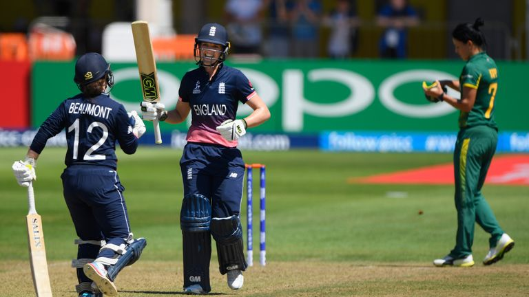 Sarah Taylor celebrates reaching three figures with fellow centurion Tammy Beaumont against South Africa