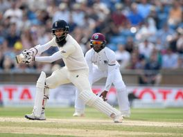England batsman Moeen Ali hits out during day four of the second Test