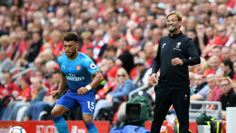 Oxlade-Chamberlain in action at wing-back against Jurgen Klopp's Liverpool