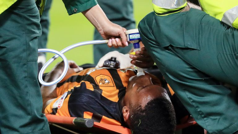 Hull City's Abel Hernandez receives treatment before being stretchered off on Tuesday