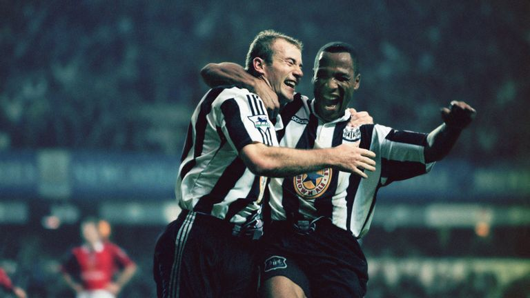 Alan Shearer (left) and Les Ferdinand celebrate Newcastle's 5-0 thrashing of Man Utd