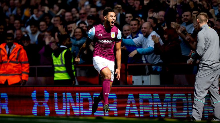 Andre Green celebrates scoring for Aston Villa