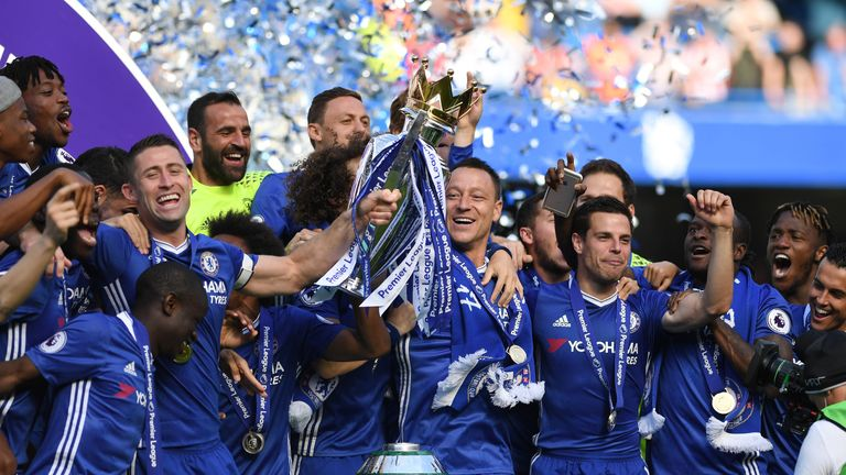 Chelsea picked up the Premier League trophy after the win over Sunderland