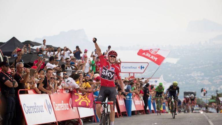 Froome won the red jersey at this year's Vuelta, his first success in the race