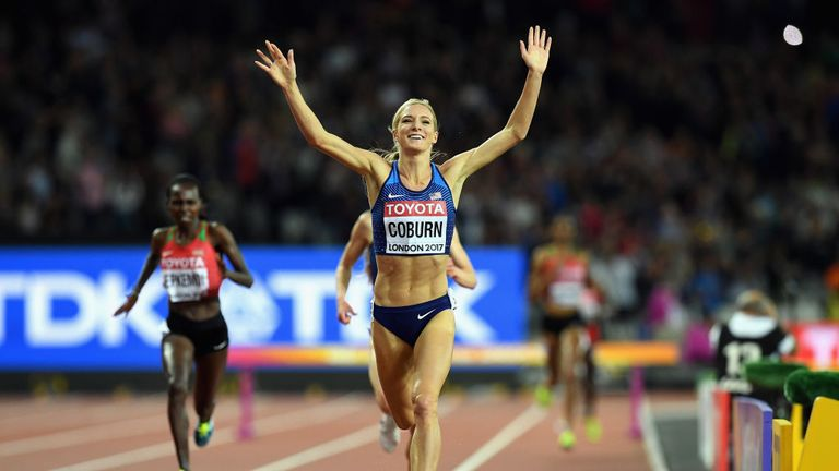 Emma Coburn of the United States celebrates victory in the 3000m steeplechase