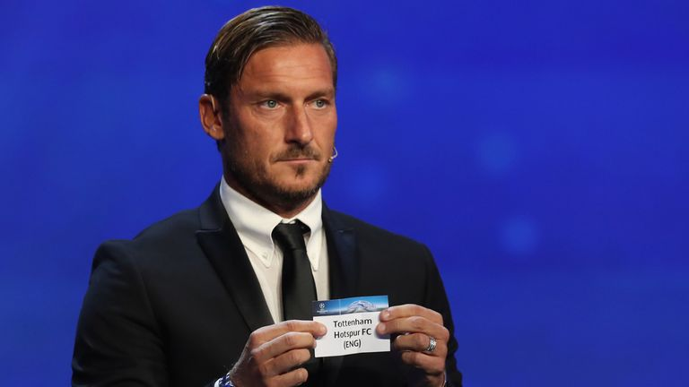 Francesco Totti drew out Tottenham in Group H alongside Real Madrid, Borussia Dortmund and Apoel