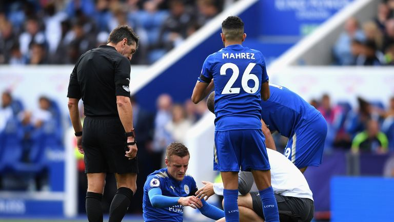 Jamie Vardy picked up an injury at the weekend