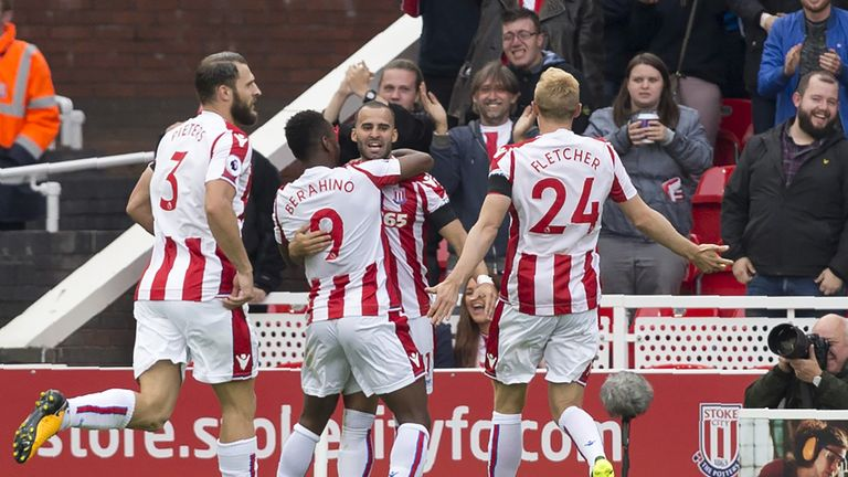 Stoke  striker Jese (C) celebrates with team-mates after scoring on his debut
