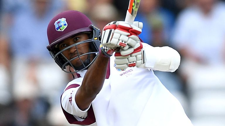 Kraigg Brathwaite strikes Moeen Ali for six