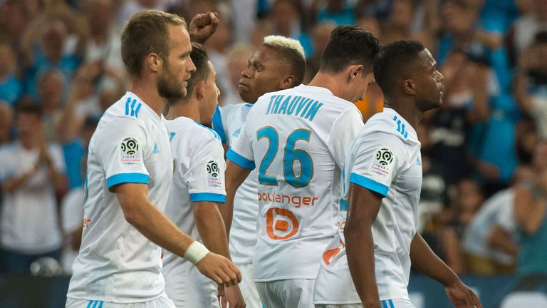 Marseille's players celebrate their win over Nice
