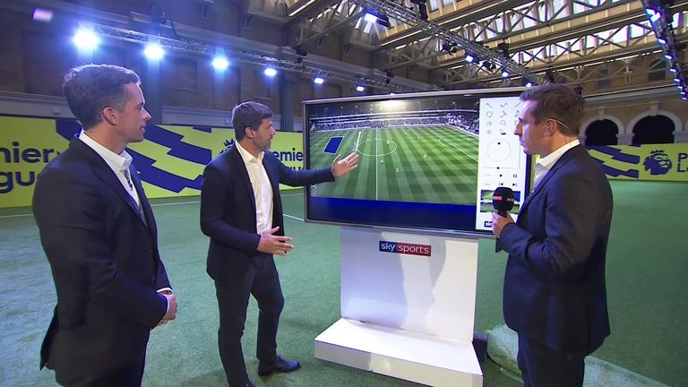 Neville speaks with Mauricio Pochettino at the PL launch