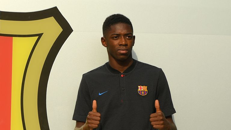 Ousmane Dembele landed in Barcelona on Sunday afternoon ahead of Monday's official unveiling at the Nou Camp