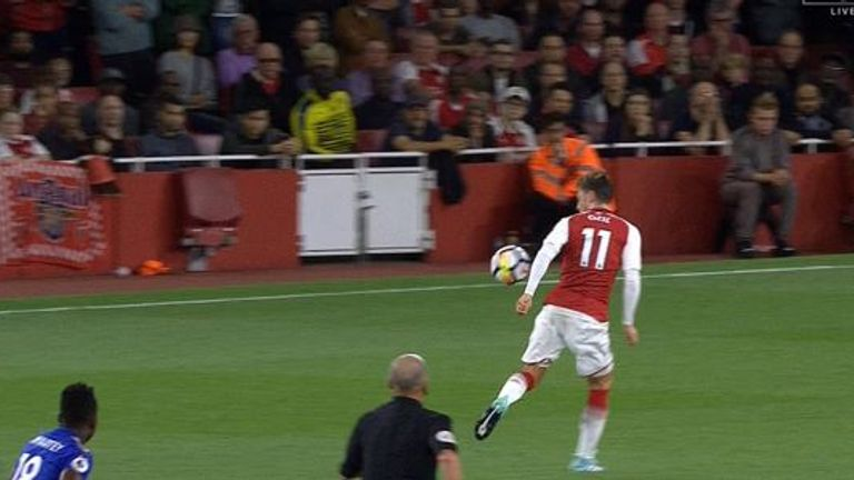 Did Mesut Ozil handball in the build-up to Arsenal's third goal?