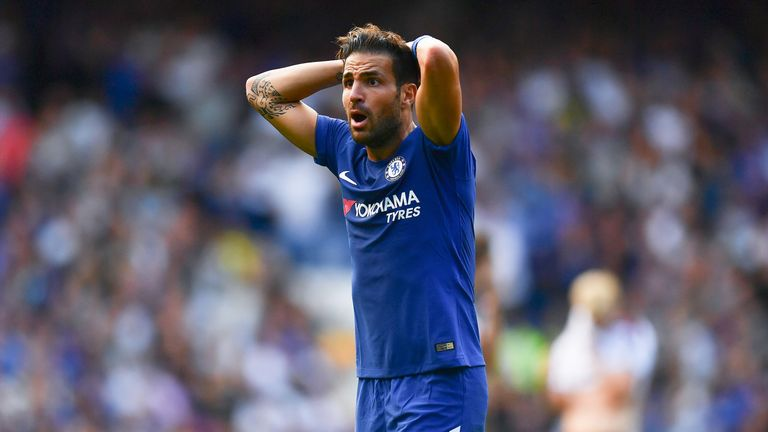 Cesc Fabregas reacts to being sent off