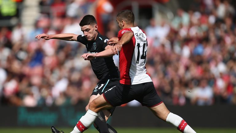 Declan Rice in Premier League action at St Mary's against Southampton