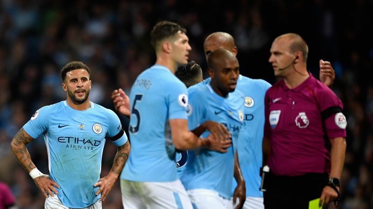 Kyle Walker is sent off after receiving a second booking