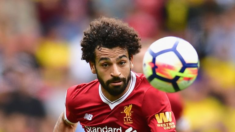 Mohamed Salah in action during the Premier League match between Watford and Liverpool at Vicarage Road
