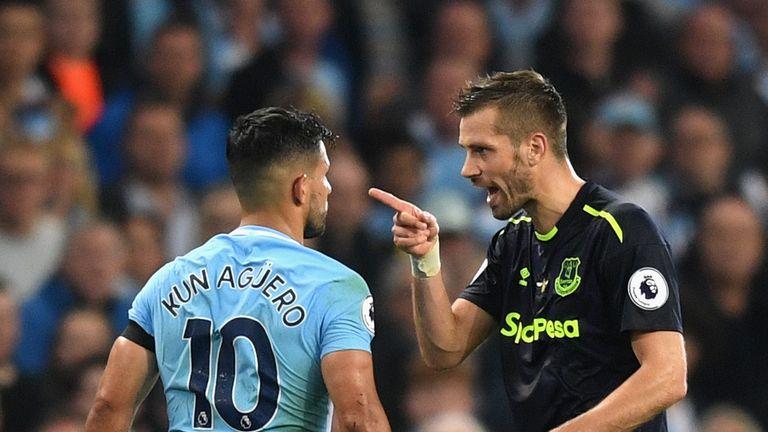 Morgan Schneiderlin confronts Sergio Aguero against Manchester City