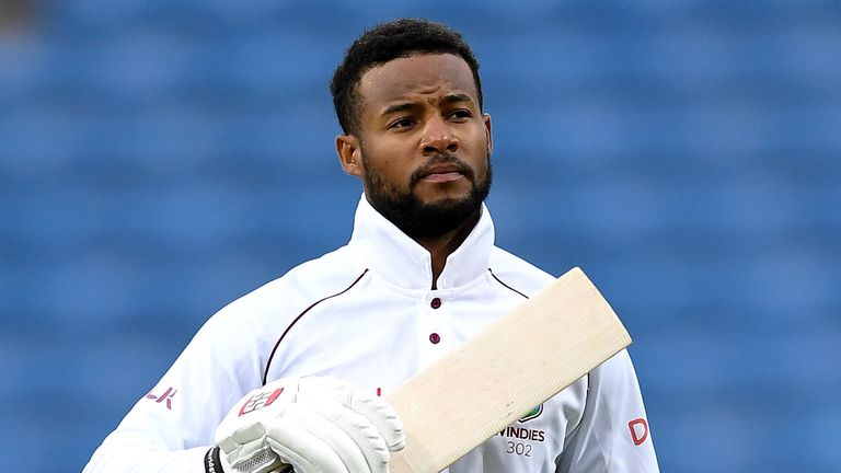 West Indies' Shai Hope celebrates scoring back-to-back centuries in the Headingley Test against England three years ago