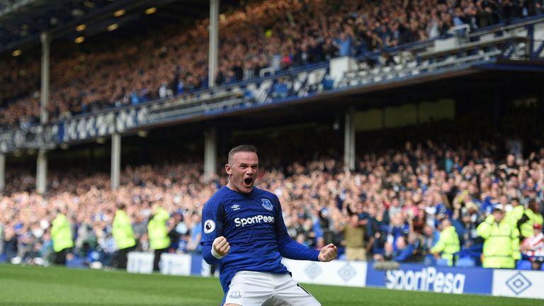 Wayne Rooney celebrates his opening-weekend goal