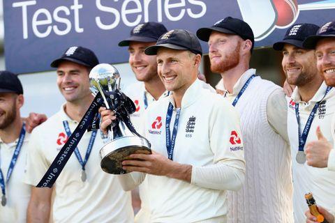 Joe Root celebrates England's success