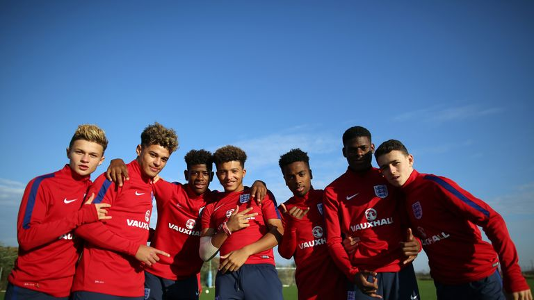 Sancho at the heart of things during training with England Under-17s