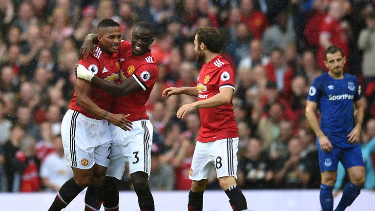 Antonio Valencia celebrates his goal against Manchester United