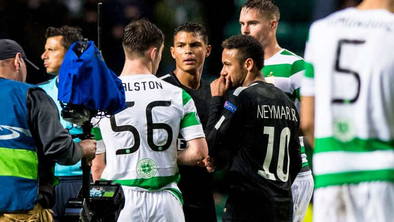 Ralston and Neymar exchanged words at full-time at Celtic Park