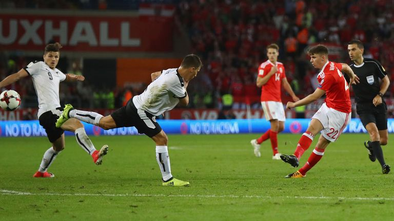Woodburn scored his first goal for Wales against Austria in a World Cup qualifier