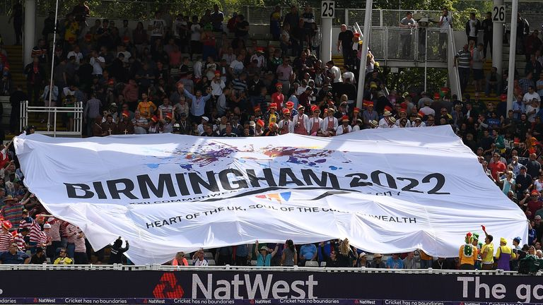 A banner in the ground for Birmingham's bid for the 2022 Commonwealth Games at Edgbaston