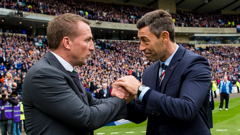 Celtic boss Brendan Rodgers (left) with Rangers manager Pedro Caixinha before the Scottish Cup semii-final last season