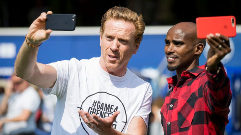 Damian Lewis and Mo Farah before kick-off
