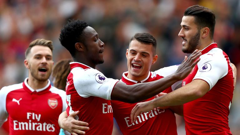 Danny Welbeck celebrates his first goal against Bournemouth