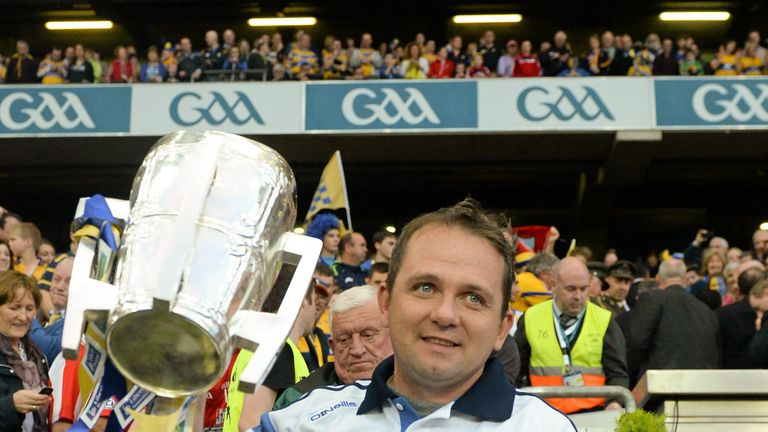 Clare manager Davy Fitzgerald with the Liam MacCarthy Cup after the 2013 replay with Cork