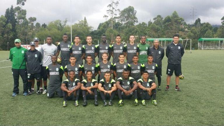 Felipe Merino (back row, far right) and Davinson Sanchez (back row, centre) pose for an Atletico Nacional U20 team photograph