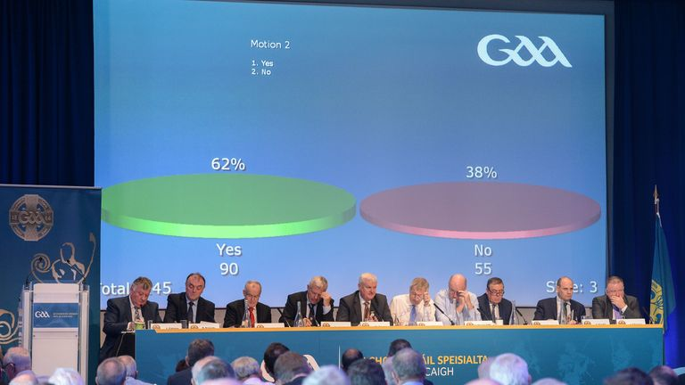The result of Motion 2 at Special Congress, a change to the Hurling Championship format between 2018 and 2020