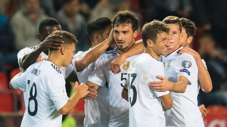 Germany defender Mats Hummels celebrates the winner.