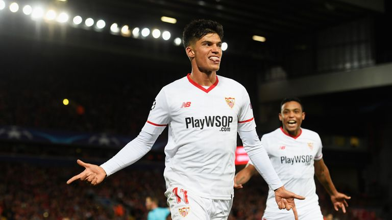 Joaquin Correa celebrates scoring his side's second goal against Liverpool