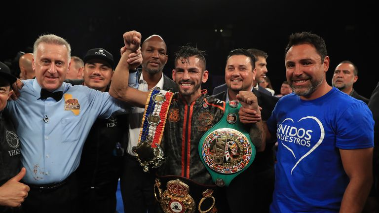 Jorge Linares celebrates after beating Luke Campbell