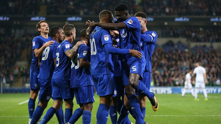 Cardiff celebrate Kenneth Zohore's second goal of the game