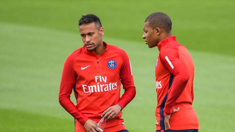 Kylian Mbappe and Neymar in training for Paris Saint-Germain