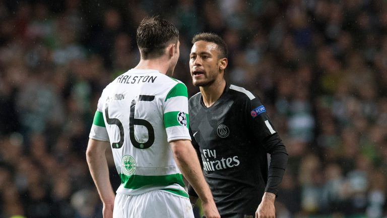 Ralston and Neymar clashed repeatedly during Celtic 0-5 PSG