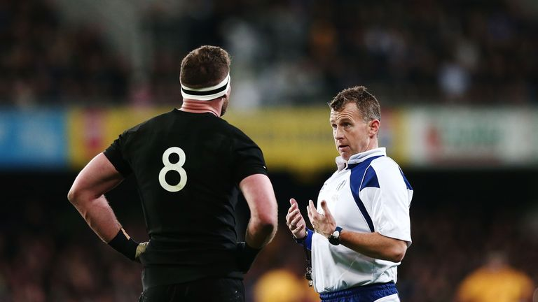 Nigel Owens talks to Kieran Read during the All Blacks' Test against Australia in the Rugby Championship