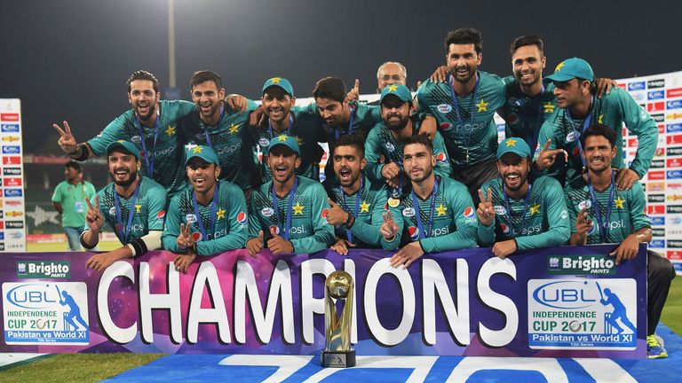 Pakistan celebrate their 2-1 series victory over a World XI in Lahore