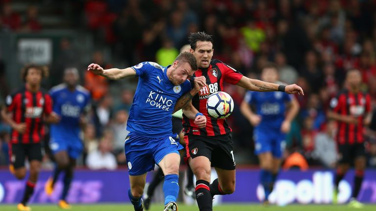 Jamie Vardy and Charlie Daniels chase a loose ball in the match at the Vitality Stadium