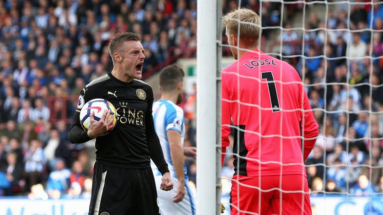 Jamie Vardy scored from the spot against Huddersfield but then missed against Liverpool