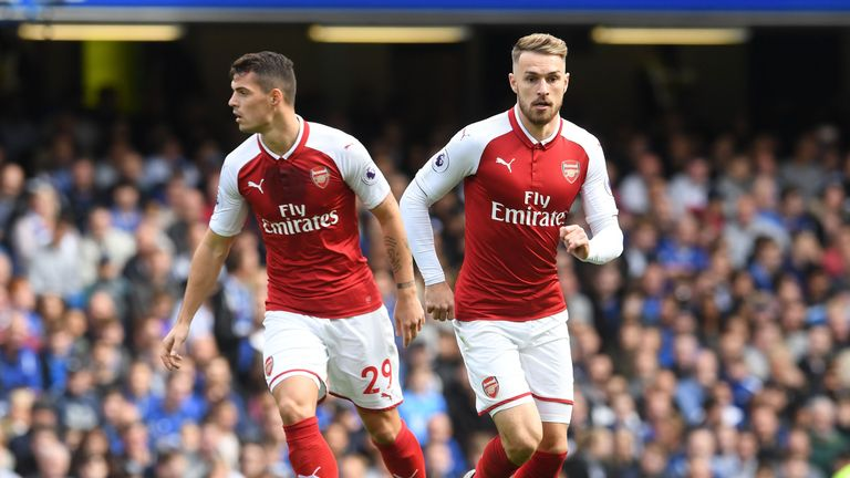 Granit Xhaka (L) partnered Aaron Ramsey (R) in Arsenal's midfield