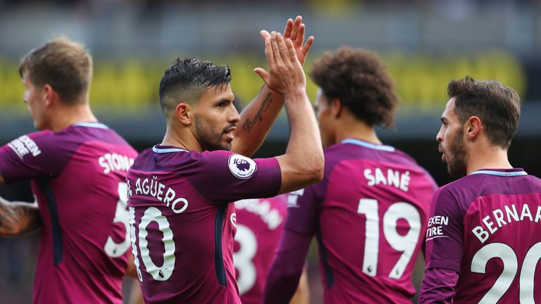 Sergio Aguero's hat-trick helped Man City win 6-0 at Watford