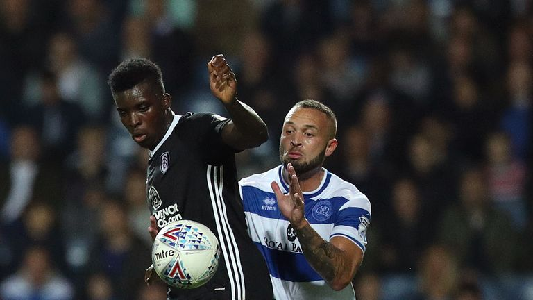 Sheyi Ojo (left) suffered a dislocated shoulder after a challenge from Queens Park Rangers' Joel Lynch