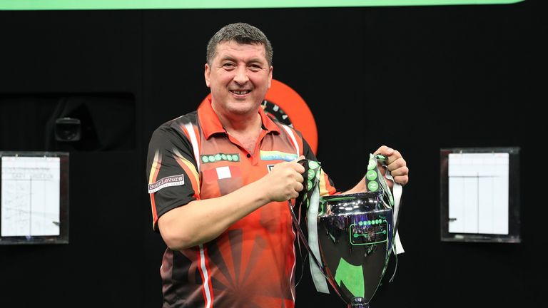 Mensur Suljovic won his maiden major televised title at the Champions League of Darts last year
